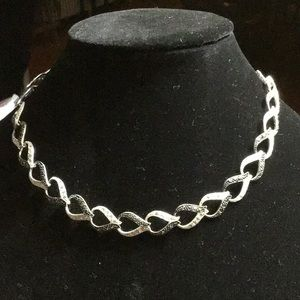 Jewelry - Sterling Silver B&W Rhinestone Link Necklace